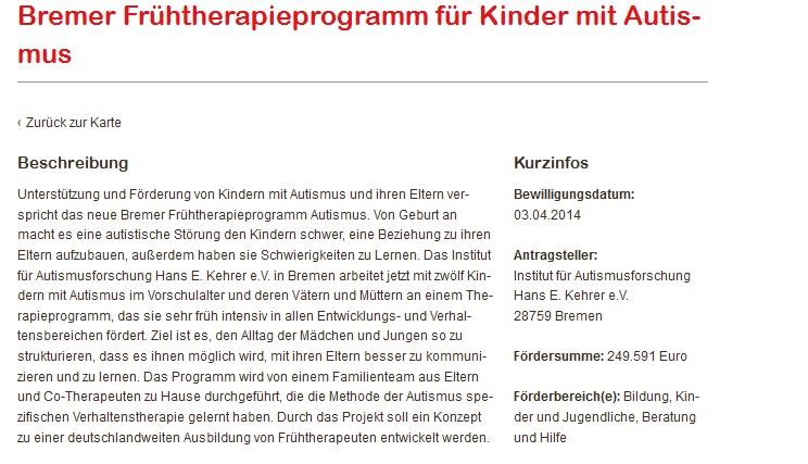 Förderungsbeschreibung auf der Seite der Aktion Mensch. Gefördert wird das Institut für Autismusforschung Bremen mit 249.591 Euro.