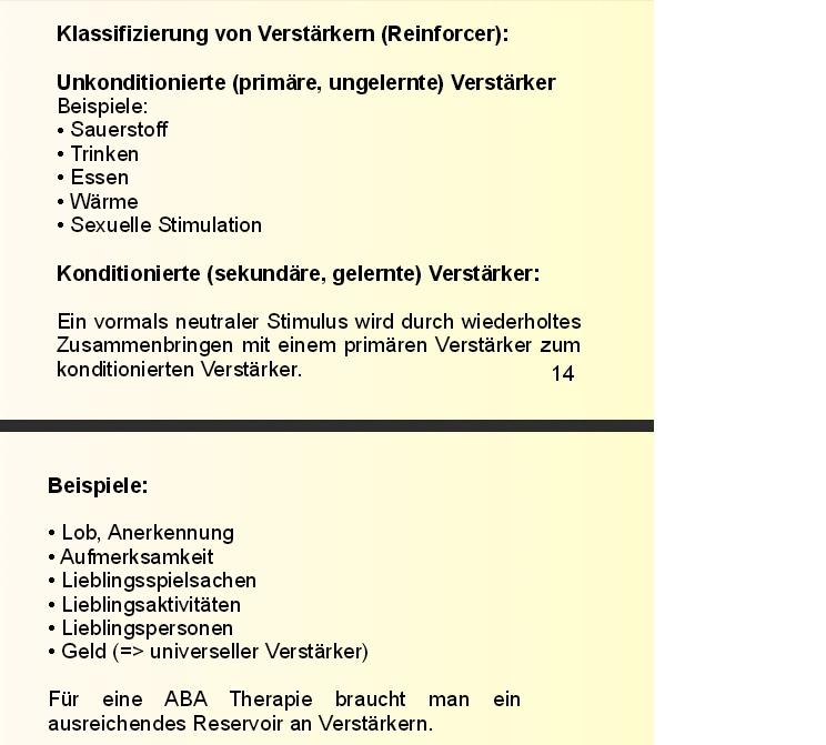 Zwei Folien eines Vortrages über ABA Grundlagen. Aufgeführt wird auch Sexuelle Stimulation als Teil der unkonditionierten Verstärker